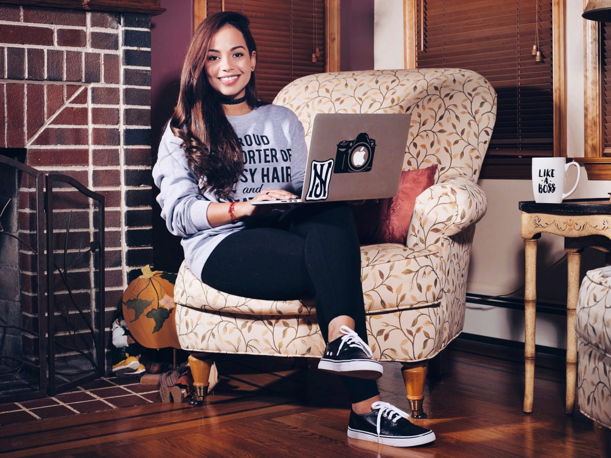 beautiful, woman, latina, model, long hair, smiling, woman sitting with laptop